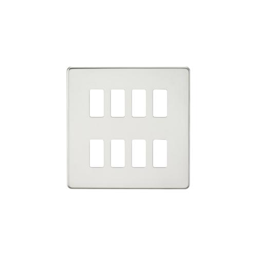 Knightsbridge Screwless 8G grid faceplate (Chrome)