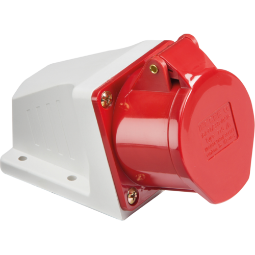 ML Accessories 415V IP44 16A Angled Surface Mount Socket X 10 Pack (Red /White)