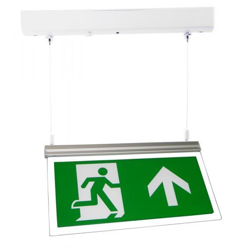 Red Arrow LED Emergency Exit Sign (Polished Chrome)