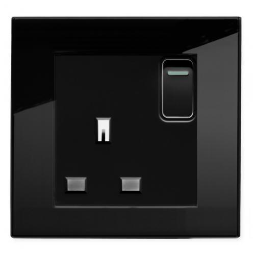 Retro Touch Crystal 13A Single Plug Socket with Switch (Black PG)