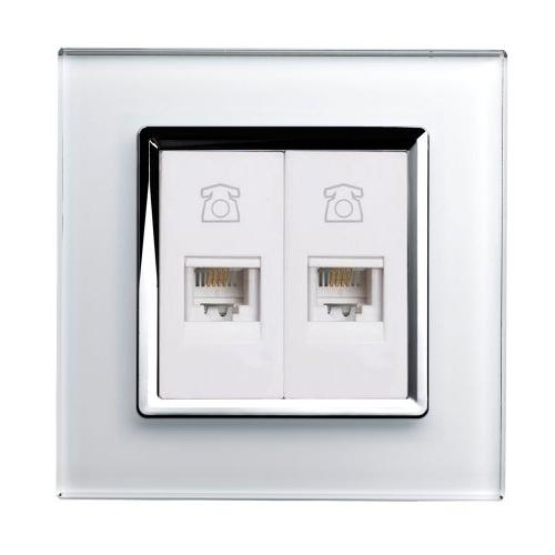 Retro Touch Crystal Dual RJ11 Telephone Socket (White CT)