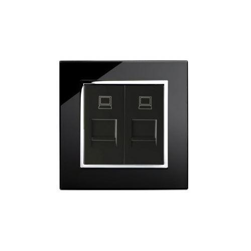 Retro Touch Crystal Glass Dual RJ45 CAT5e Socket (Black CT)