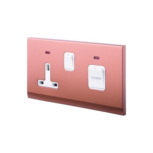 Retrotouch Simplicity 45A DP Cooker Switch and Socket with Neon (Bronze)