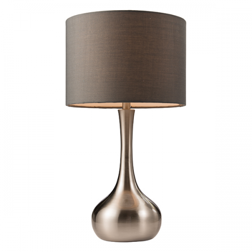 Saxby Lighting Piccadilly Touch Table Lamp Satin Nickel Grey Cotton