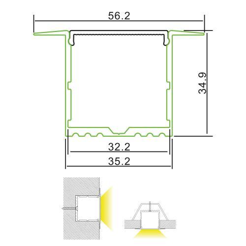 2m Deep Wide Recessed Profile Base & PC Diffuser
