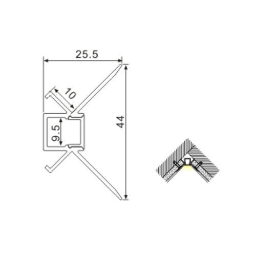 2m Corner Plaster in flush finish housing for 8mm LED Strip with diffuser