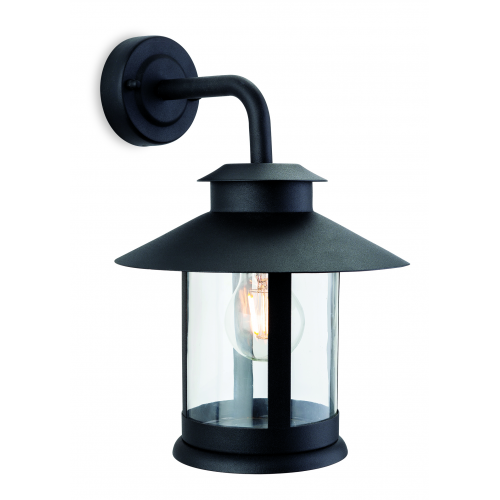 Firstlight Roma Single Light Outdoor Wall Lantern In Black Finish With Clear Glass Shade