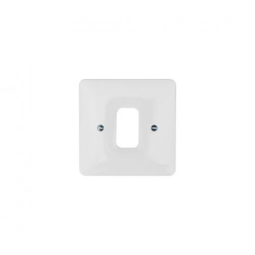 Hager 1 Gang White Moulded Grid Plate (White)
