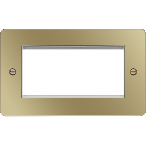 Hager ER Style Plate 4 Module (Polished Brass/White)  sc 1 st  Direct Trade Supplies : hager wiring accessories - yogabreezes.com