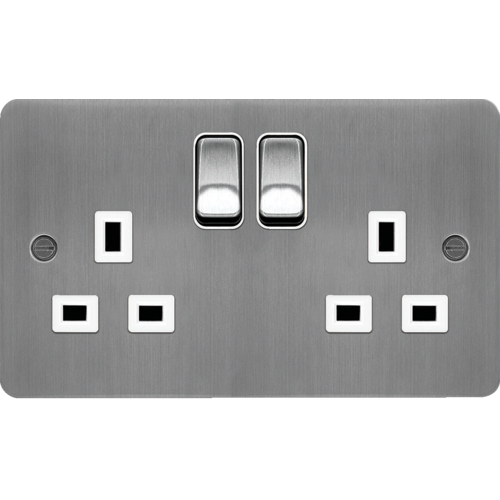 Hager 2 Gang Double Pole Switch Socket (Brushed Steel/White)  sc 1 st  Direct Trade Supplies : hager wiring accessories - yogabreezes.com