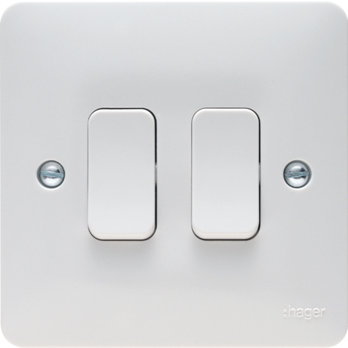Hager 2 Gang 2 Way Wall Switch  White Plastic Switches