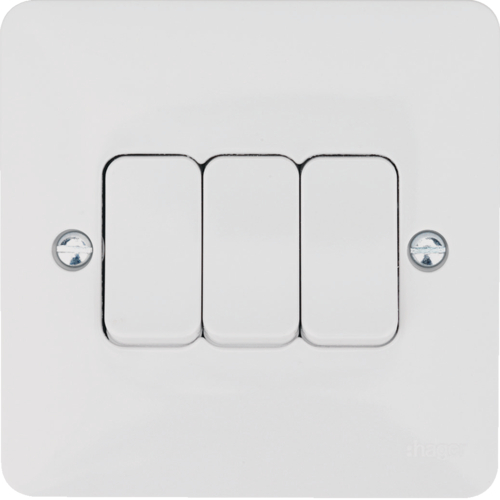 Hager 3 Gang 2 Way Wall Switch  Hager Sollysta Switches  Wmps32 Uk