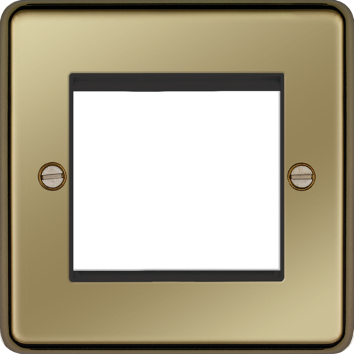 Hager ER Style Plate 2 Module (Polished Brass)