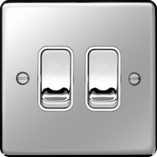 Hager 10AX 2 Gang 2 Way Switch (Polished Steel)