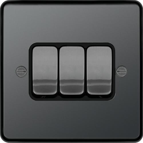 Hager 10AX 3 Gang 2 Way Wall Switch (Black Nickel)