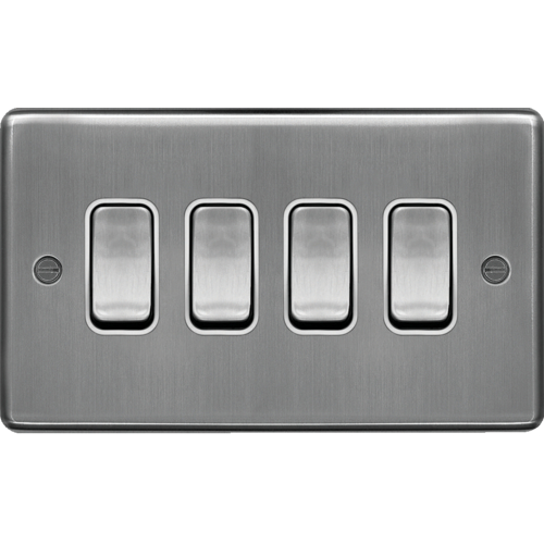 4 Gang 2 Way Wall Switch  Accessories  Wall Switches  Wrps42bsw  Hager Uk