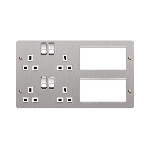 Hager TV Lounge Plate (Brushed Steel)  sc 1 st  Direct Trade Supplies : hager wiring accessories - yogabreezes.com