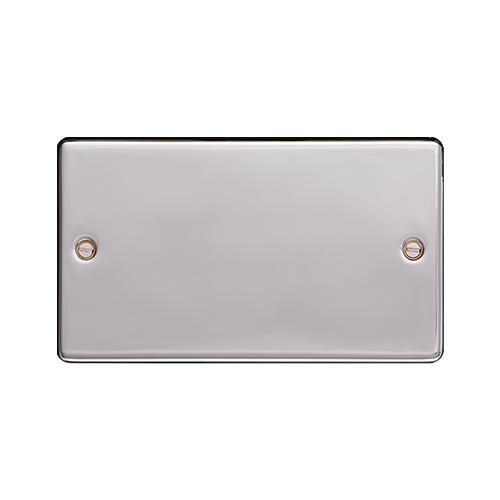 Hager Twin Blank Plate (Polished Steel)