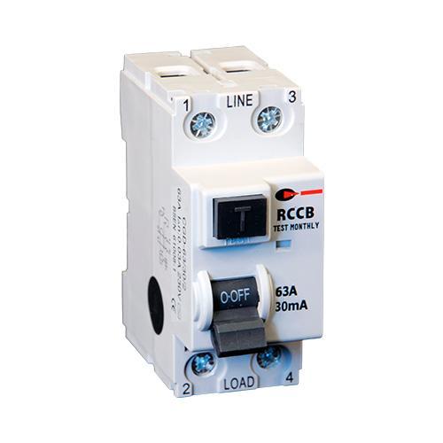 Lewden 63A 30mA 2P 2 Module RCCB (White)