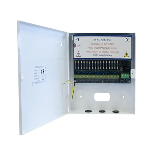 RGL 16 Way 10 Amp Metal Boxed Power Supply for CCTV (White)
