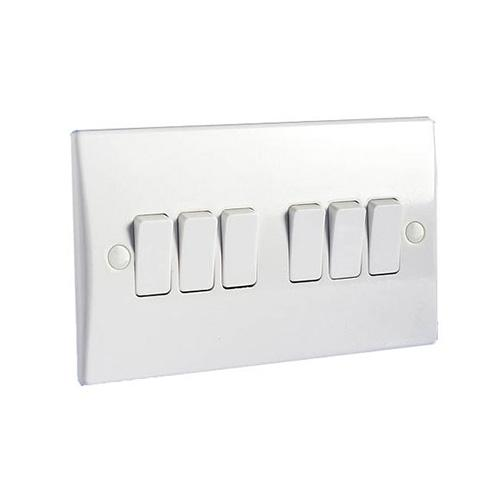 Hager 6 Gang 2 Way Wall Switch  White Plastic Switches  Wmps62 Uk