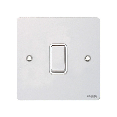 Schneider Electric GET Ultimate Flat Plate 1 Gang 2 Way Switch (White Metal)