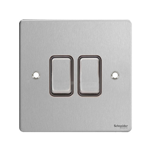 Schneider Electric GET Ultimate Flat Plate 2G 2 Way Switch (Stainless Steel)