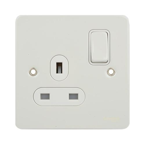 Schneider Electric GET Ultimate Flat Plate 1G Switch Socket (White Metal)