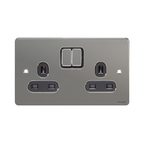 Schneider Electric GET Ultimate Flat Plate 2G Switch Sockets (Black Nickel)
