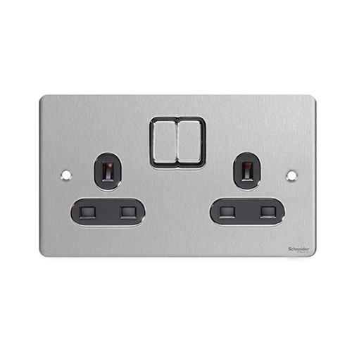 Schneider Electric GET Ultimate Flat Plate 2G Switch Socket (Stainless Steel)