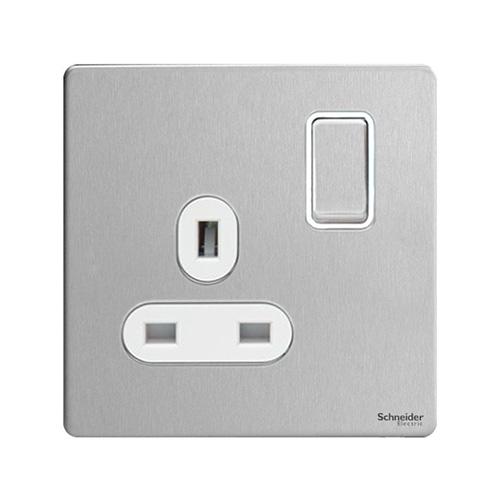 Schneider Electric Screwless Flat Plate 1G Switch (Stainless Steel)