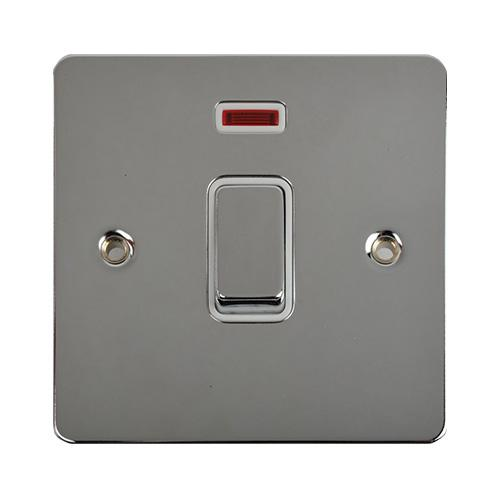 Schneider Electric GET Ultimate Flat Plate 32A 1G DP Switch with Neon (Polished Chrome)