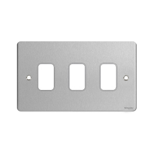 Schneider Electric Ultimate Grid Moulded 3 Gang Flush Plate (Stainless Steel)