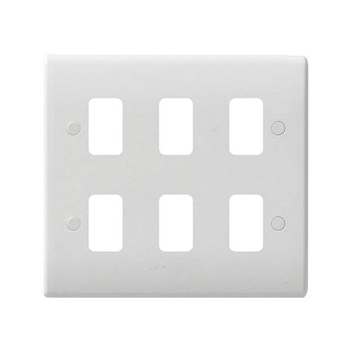 Schneider Electric GET Ultimate 6 Gang Grid Plate (White)