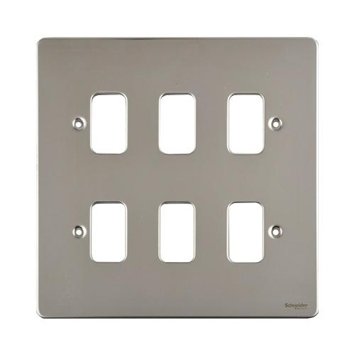 6 gang grid plate mirror chrome wiring accessories gug06gms rh directtradesupplies co uk electrical wiring supplies online Plug Electrical Supplies