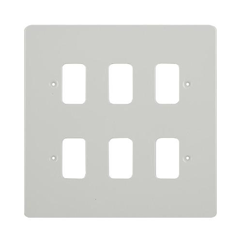 Schneider Electric GET Ultimate 6 Gang Grid Plate (Painted White)