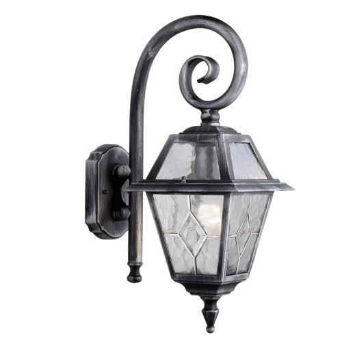 Searchlight Genoa Aluminium Ip44 Black Silver Outdoor Wall, Lead Glass Design