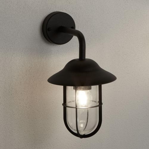 Searchlight Toronto Ip44 Matt Black Outdoor Wall Lantern Clear Glass