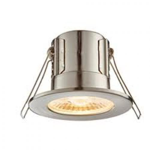 ELD 5W Fire Rated LED Downlight, Supplied With Brushed Nickel Bezel (Warm White) 3000k