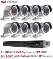 8CH Hikvision HD NVR + 8 x 1.3MP Outdoor WDR Bullet IP Camera + 2TB HDD Camera Kit (Black/White)