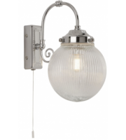 Searchlight Belvue 1LT Bathroom IP44 Wall Light Clear Globe Shade Chrome