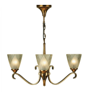 Endon Lighting Columbia Brass 3lt Pendant & Deco Glass 40W