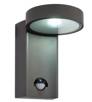 Saxby Lighting Oreti 10W IP44 LED Wall Light With PIR Textured Anthracite