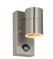 Endon Palin IP44 PIR Wall Light (Brushed Stainless)