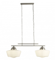 SALE Searchlight School House 2LT Satin Silver Pendant With Opal Glass
