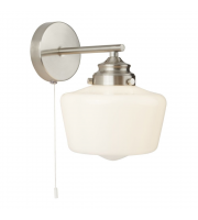 SALE Searchlight School House 1LT Wall Light Satin Silver With Opal Glass