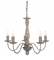 Searchlight Sycamore 5LT Ceiling Wood Spindle Column Washed Grey