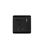 RED ARROW 1 Gang 13 Amp Single Socket Usb (Black)