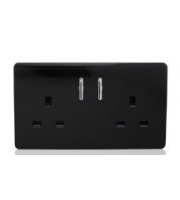 RED ARROW 2 Gang 13 Amp Short Switched Plug (Black)