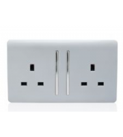 RED ARROW 2 Gang 13 Amp Long Switched Plug (Silver)